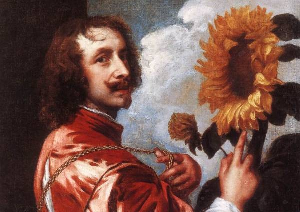 DYCK Anthony Van Self Portrait with a Sunflower